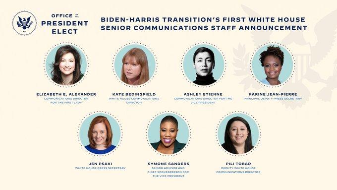 Joe Biden a présenté la nouvelle équipe de communication, entièrement féminine, de la Maison-Blanche